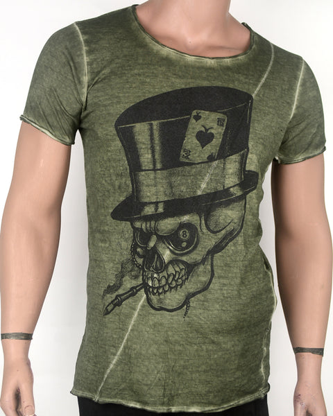 Skull Face in Hat Green T-shirt - Small