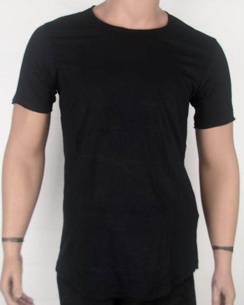 Plain Black Long Fit  T-shirt - Small