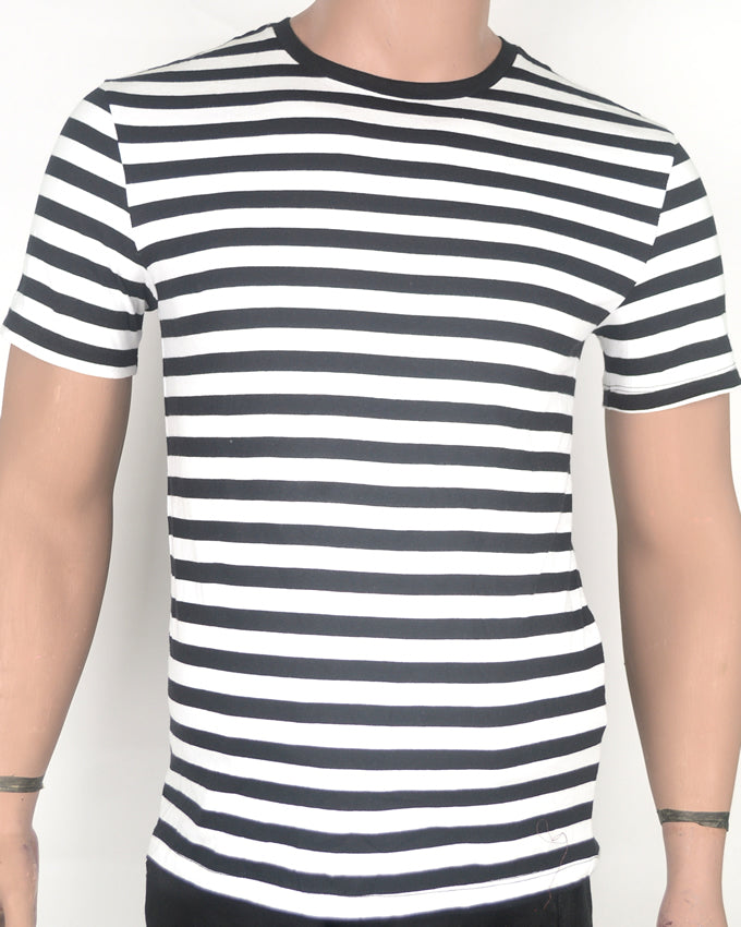 Black Stripes White T-shirt - Small
