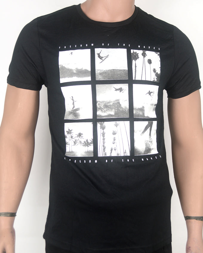 Freedom of the Waves Black T-shirt - Small