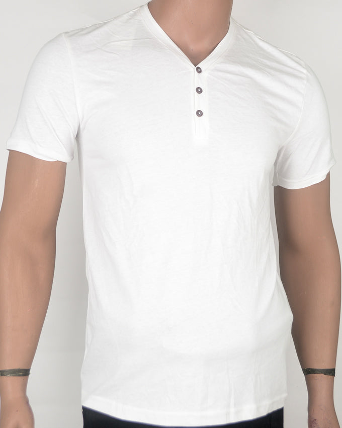 Plain White Buttoned T-shirt - Small