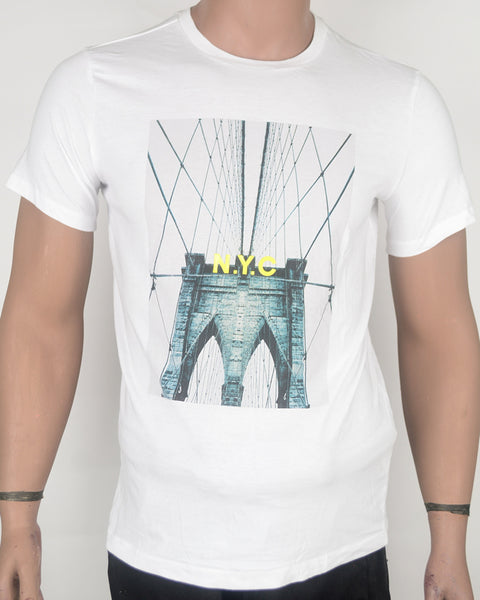 NYC Print White T-shirt - Small