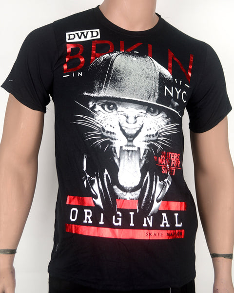 BRKLN Cat Face Black T-shirt - Small