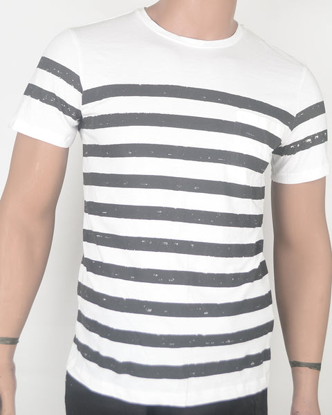 Black Stripes White  T-shirt 2 - Small
