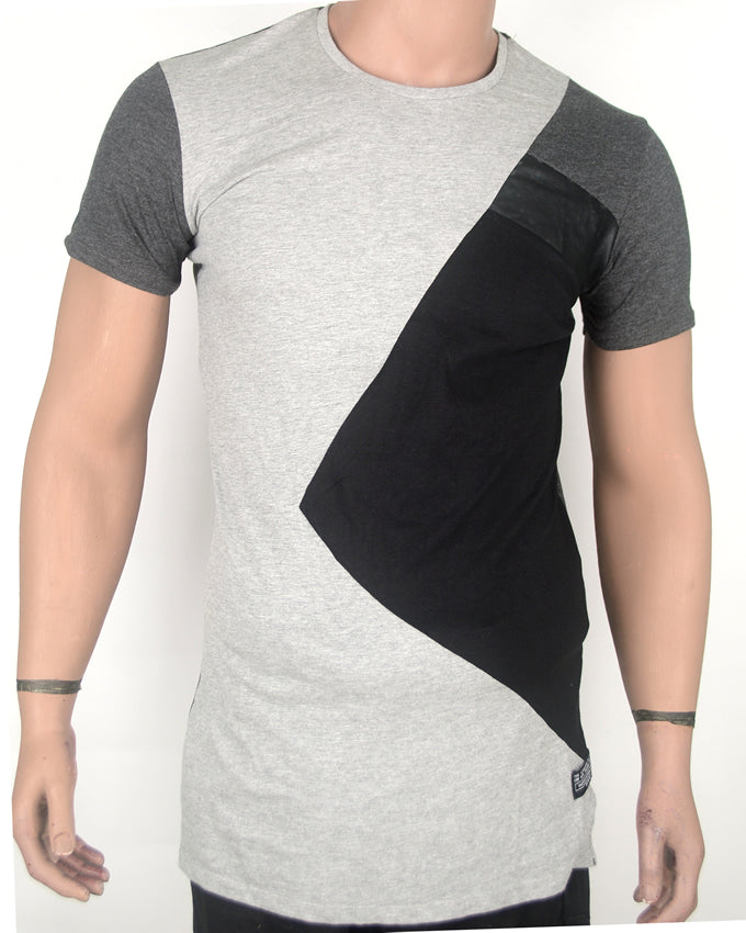 Leather Patched  Grey T-shirt - Small