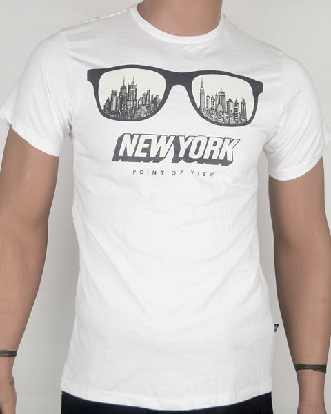 New York Glasses White T-shirt - Small