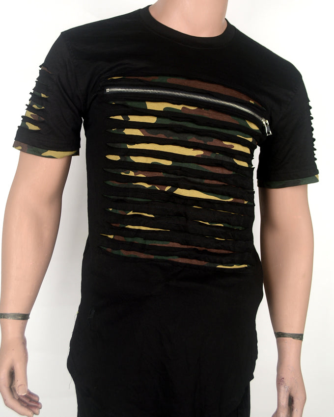 Camo Under Black  T-shirt - Small