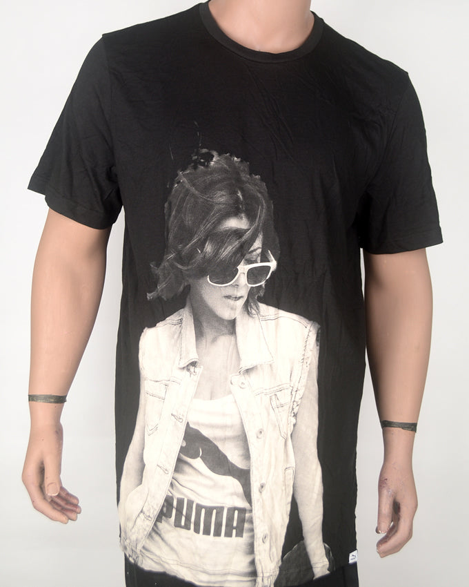 Woman in Shades Print Black T-shirt - XXL