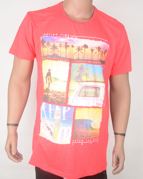 Surfing Time Print Red T-shirt - XXL