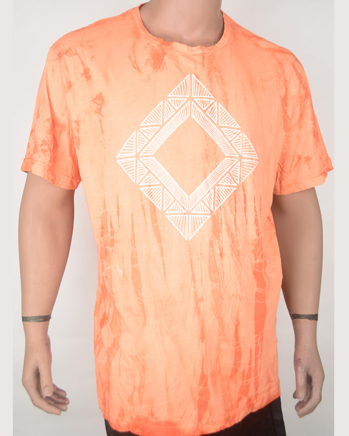 Diamond Print Orange T-shirt - XXL