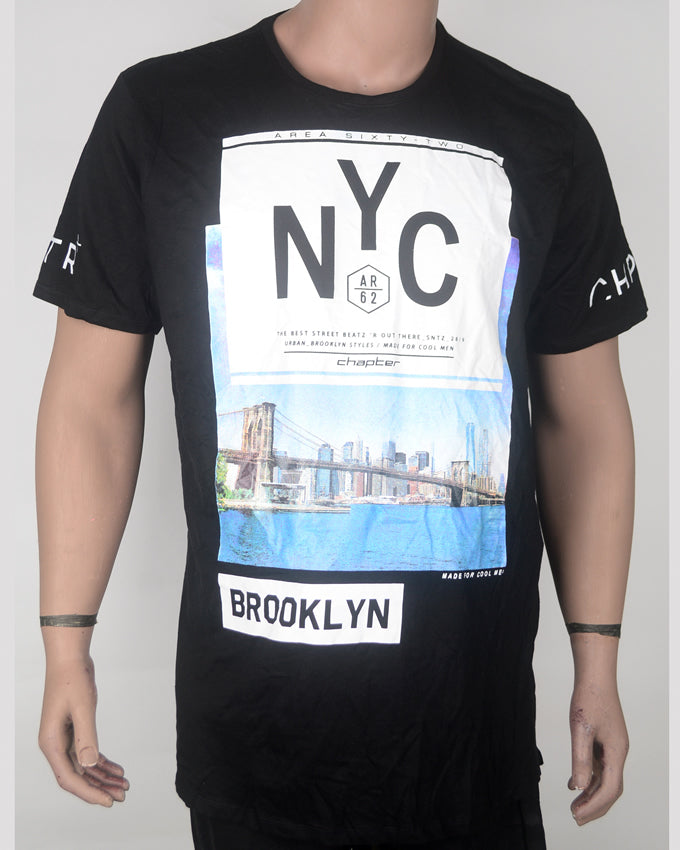 NYC Print Black T-shirt - XXL