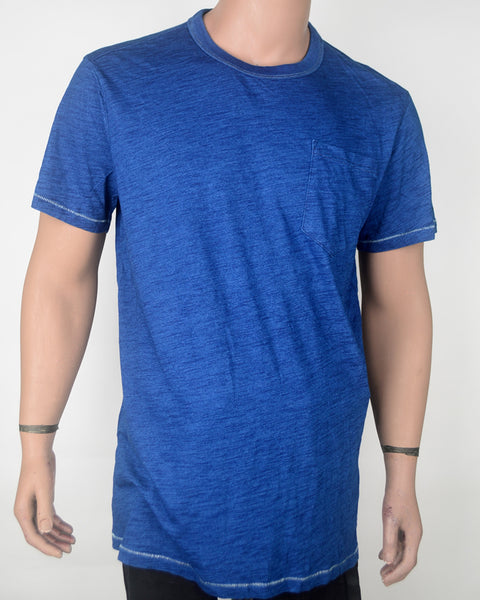 Wash Blue With Pocket Long-Fit T-shirt - XXL