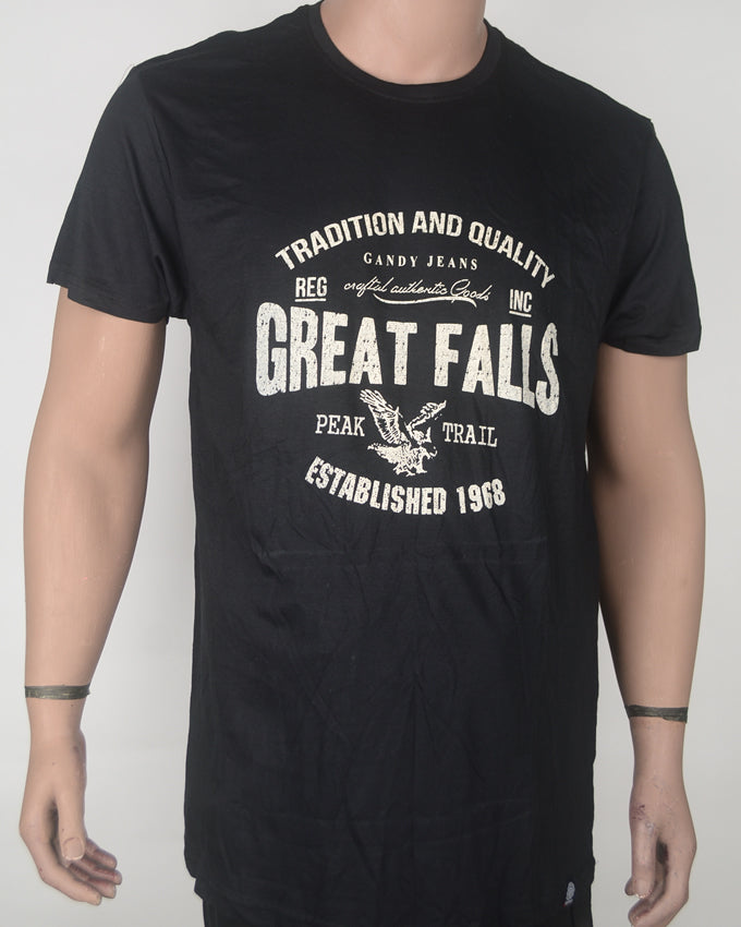 Great Falls Black T-shirt - XXL