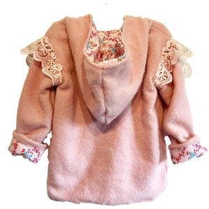 Duffle Coat Angel wings - Pixie Hood - Soft Pink with flowery angel lining