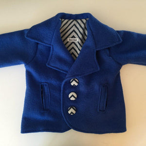 Front - Classic Boys Country Coat handmade of Pure NZ wool with a soft cotton lining
