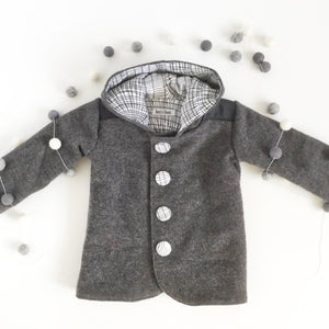 Duffle Coat - Pixie Hood - Grey with leather look shoulders