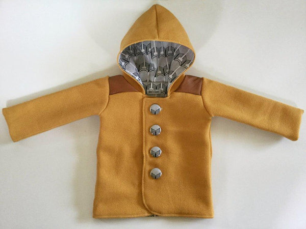 Duffle Coat - Pixie Hood - Mustard with leather look shoulders