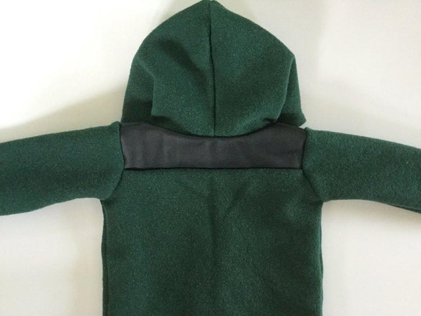 Duffle Coat - Pixie Hood - Forest Green with leather look shoulders