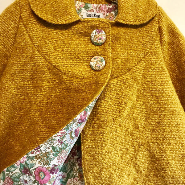 Swing Coat - Fluffy Mustard with Floral Lining