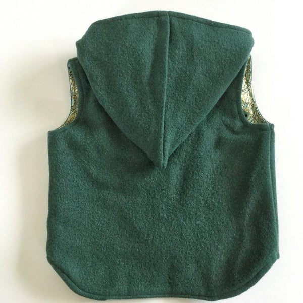 Vest - Pixie Hood - Forest Green with Woodland Lining