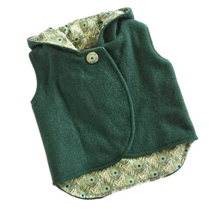 Vest - Pixie Hood - Forest Green with Peacock lining