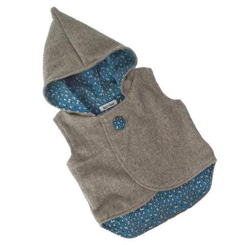 Vest - Pixie Hood - Light Grey with Blue lining