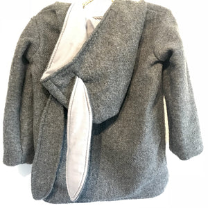 Duffle Coat - Bunny Ear Hood - Grey with Plain Lining