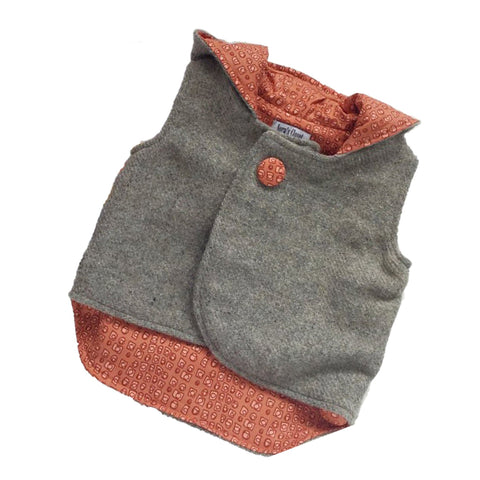 Vest - Pixie Hood - Light Grey with Orange lining