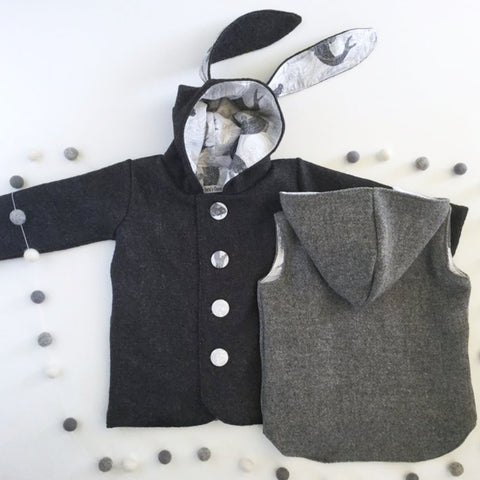 Duffle Coat - Bunny Ear Hood - Charcoal with fish lining