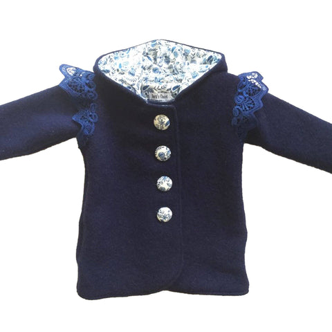Duffle Coat Angel wings - Pixie Hood - Navy with blue floral lining