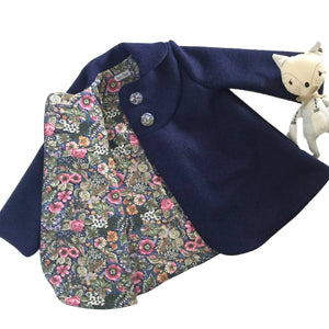 Swing Coat - Navy with flowery lining