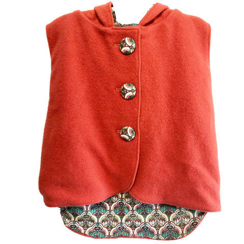 Vest - Pixie Hood - Orange with Peacock lining