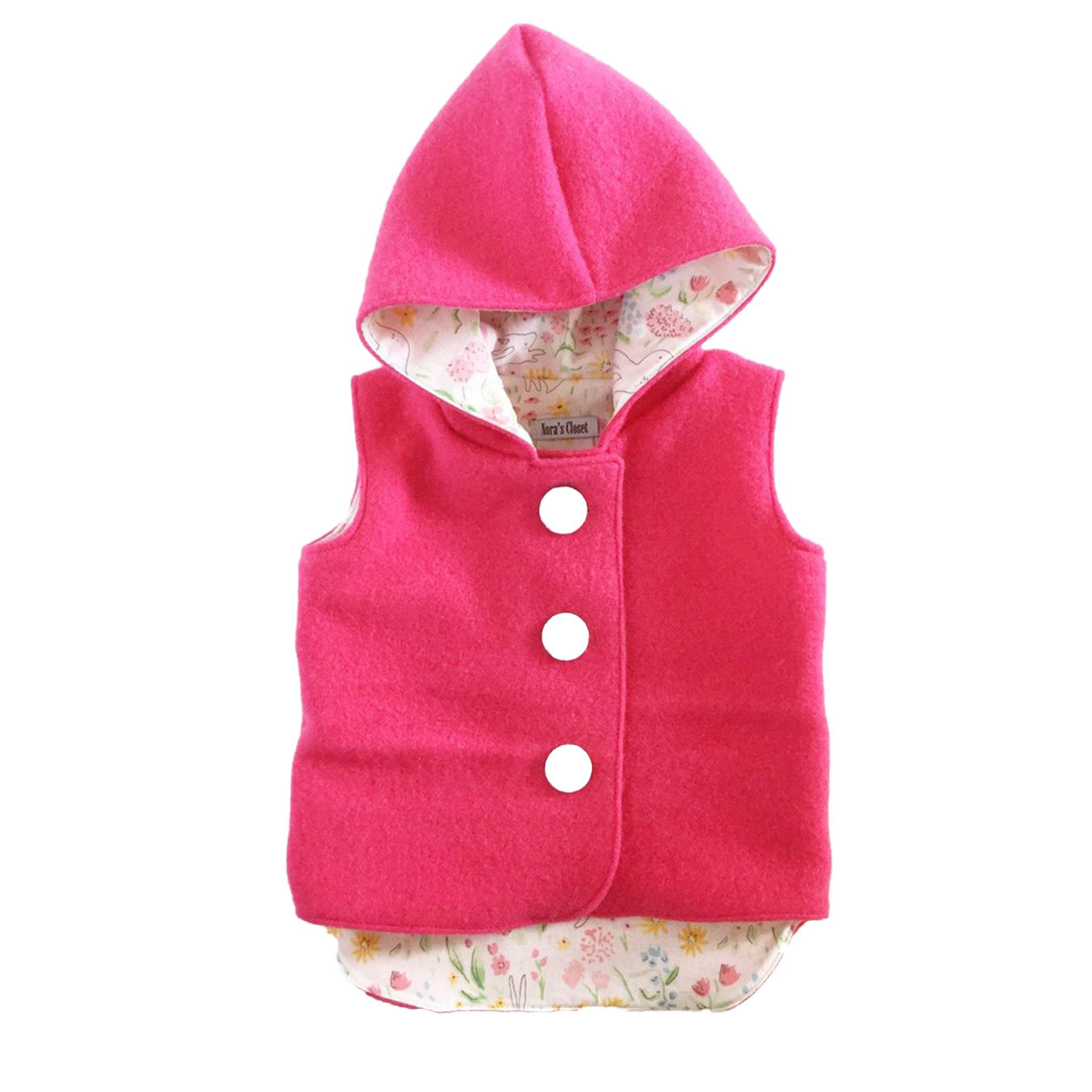 Vest - Pixie Hood - Pink with Flower Lining