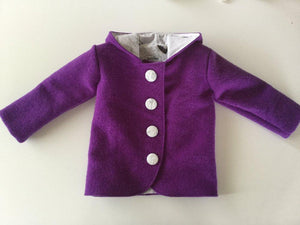 Duffle Coat - Bunny Ear Hood - Electric Purple with butterfly lining