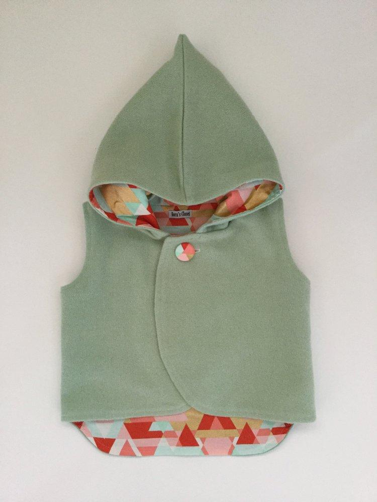Vest - Pixie Hood - Sage with Geometric Lining