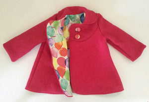 Swing Coat - Pink with Balloon lining