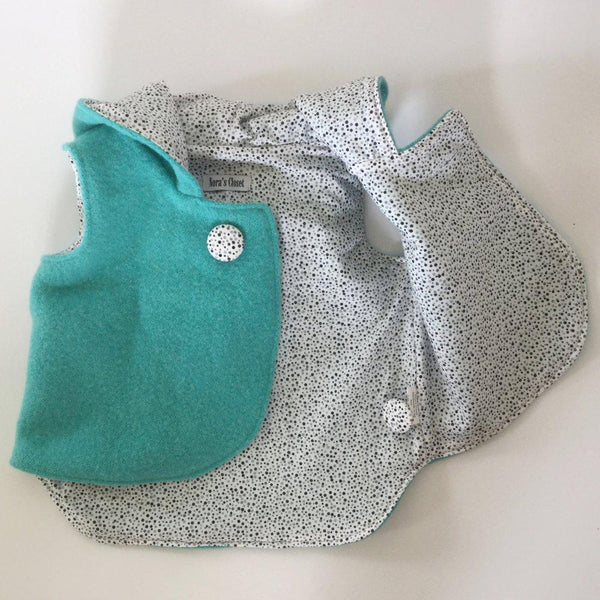 Vest - Pixie Hood - Aqua with Spotty lining