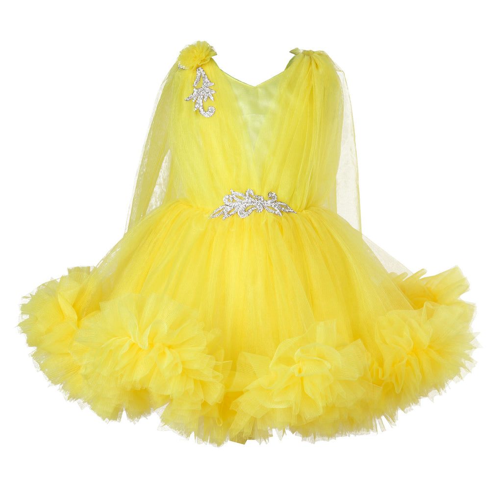 Sleeveless Yellow Ruffle Party  Frock
