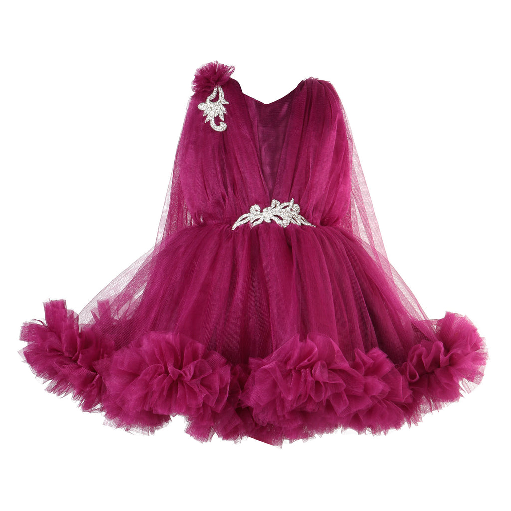 Wine Ruffle Party  Frock