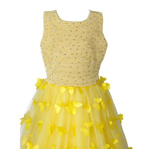 Yellow Butterfly & Pearls Gown