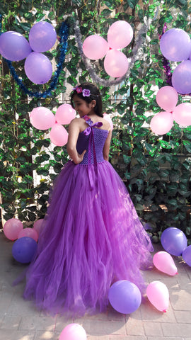 Purple Flowers Tutu Gown