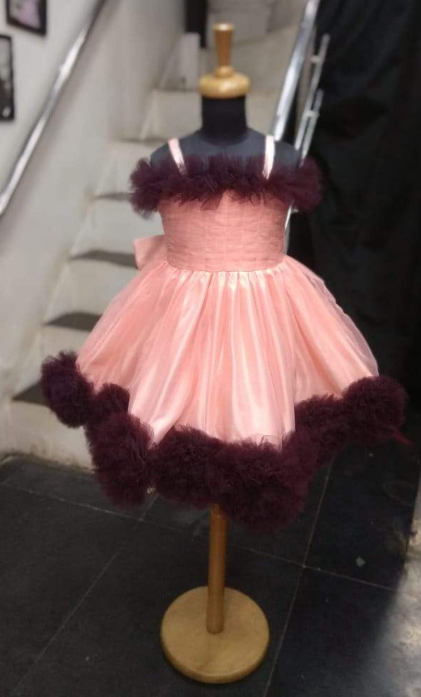 Super Sale -Pom Pom Frock -Peach