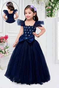 Navy Blue Bow Gown
