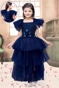 Navy Blue  Layers Gown