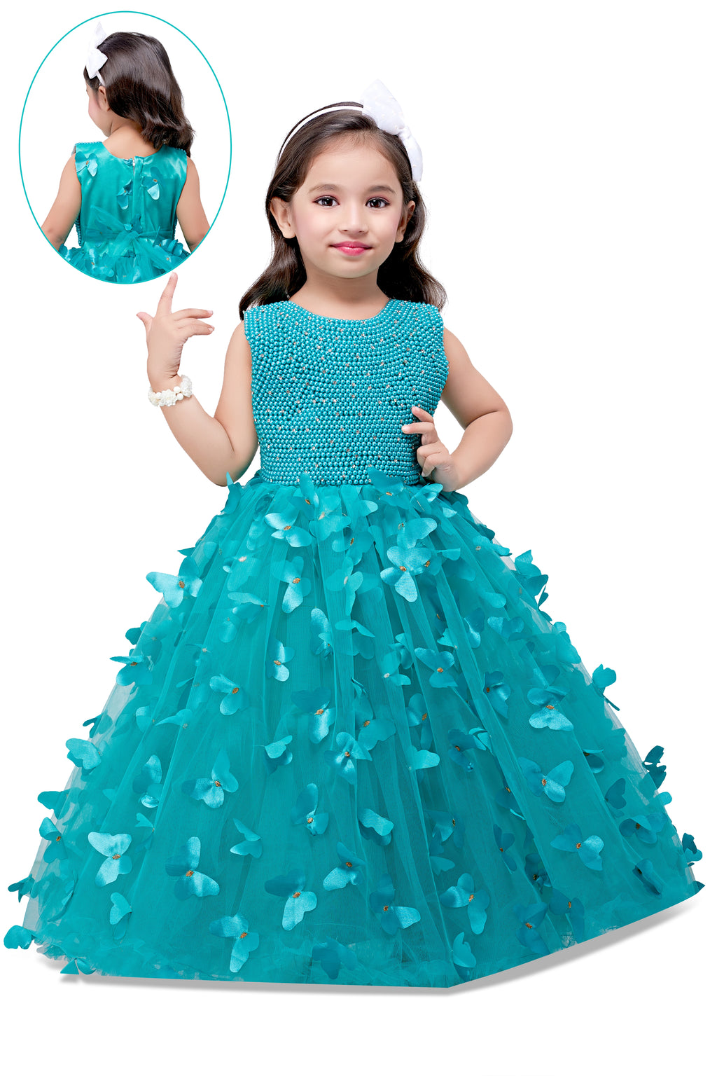 Aqua Butterfly & Pearls Gown