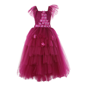 Burgandy Flowers Gown