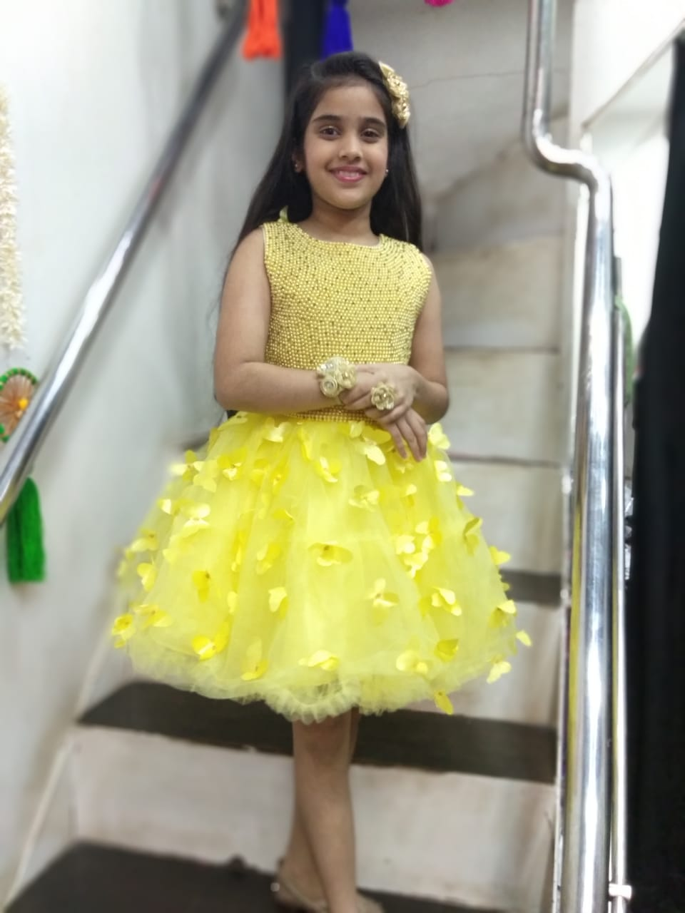 Yellow  Pearls Frock