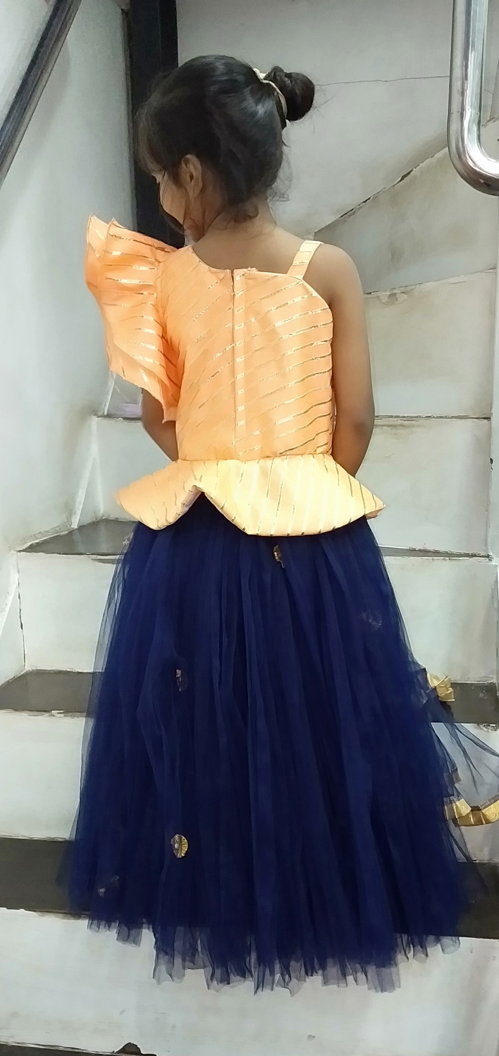 Super Sale -Navy and Peach Lehenga