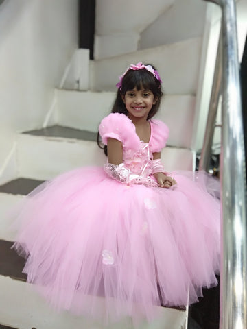 Pink Flowers Tutu Gown