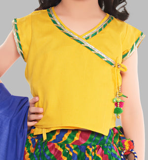 Cotton Lehenga --- Leheria Yellow and Green